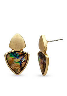 New Directions Gold-Tone Abalone Triangle Drop Earrings
