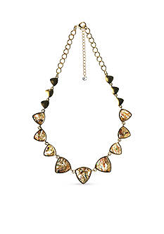New Directions Gold-Tone Abalone Triangle Collar Necklace