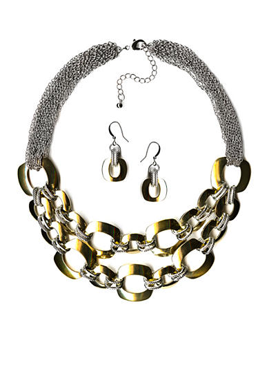 New Directions® Two-Tone Chain Necklace and Earrings Boxed Set