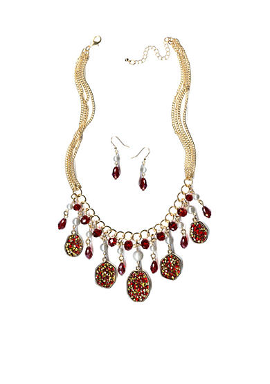 New Directions® Gold-Tone Red Glitter Oval & Bead Drops Necklace and Earrings Boxed Set