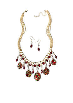 New Directions Gold-Tone Red Glitter Oval & Bead Drops Necklace and Earrings Boxed Set