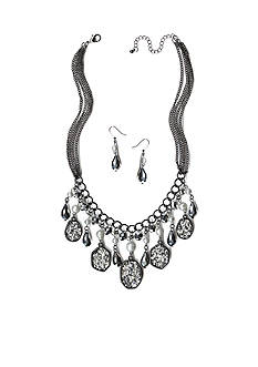 New Directions Hematite-Tone Glitter Oval & Bead Drops Necklace and Earrings Boxed Set