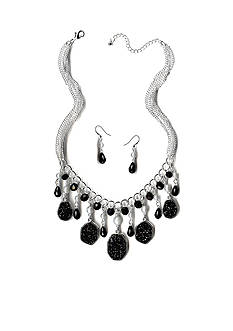 New Directions Silver-Tone Glitter Oval & Bead Drops Necklace and Earrings Boxed Set