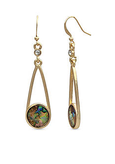 New Directions® Gold Tone Abalone Round Chandelier Earrings
