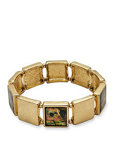 New Directions Gold-Tone Abalone Stretch Bracelet