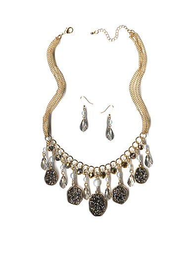 New Directions® Gold-Tone Glitter Oval & Bead Drops Necklace and Earrings Boxed Set