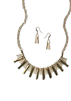 New Directions Gold-Tone Crystal Chain Necklace and Earrings Boxed Set