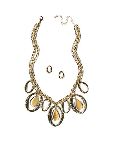 New Directions® Gold-Tone Hammered Ovals Statement Neckalce and Earrings Boxed Set