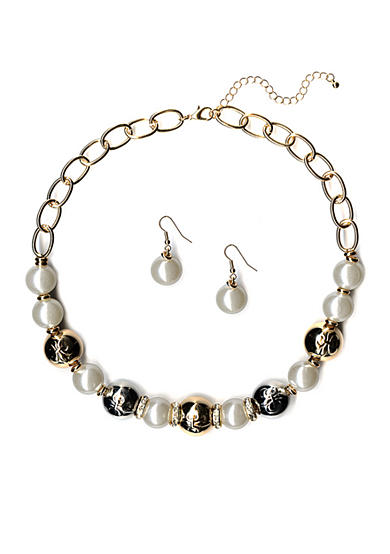 New Directions® Two-Tone Pearl Necklace and Earrings Boxed Set