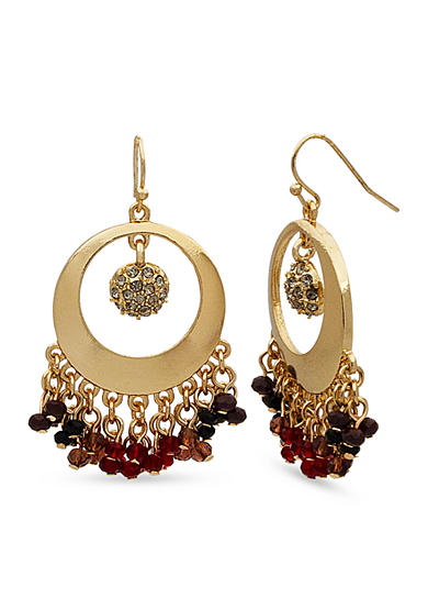 New Directions® Gold-Tone Romance Circle Bead Drop Earrings
