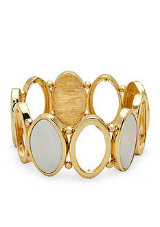 New Directions Gold-Tone Open Oval Mother of Pearl Stretch Bracelet