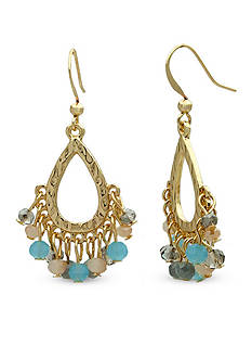New Directions Gold-Tone Beaded Open Teardrop Earrings
