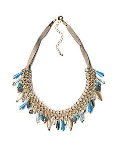 New Directions Gold-Tone Chain Beaded Drop Necklace with Grey Suede
