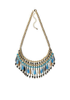 New Directions Gold-tone Beaded Drop Statement Necklace