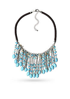 New Directions® Silver-Tone Turquoise and Freshwater Pearl Statement Necklace