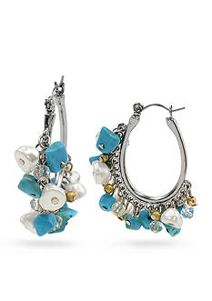 New Directions Silver-Tone Turquoise and Freshwater Pearl Hoop Earrings