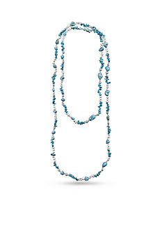 New Directions® Silver-Tone Turquoise and Freshwater Pearl Extra Long Necklace