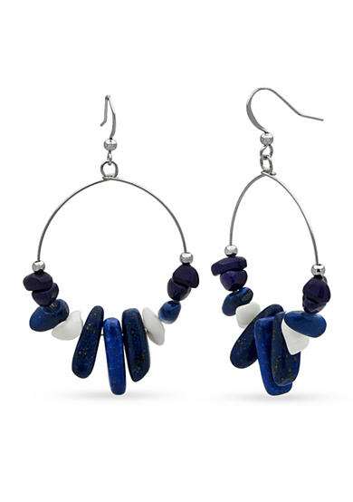 New Directions® Silver-Tone Hoop Bead Drop Earrings