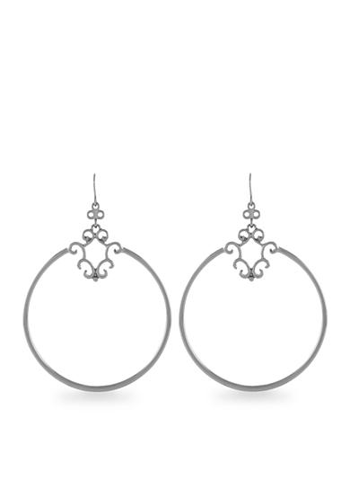 Jessica Simpson Silver Drop Hoop Earrings