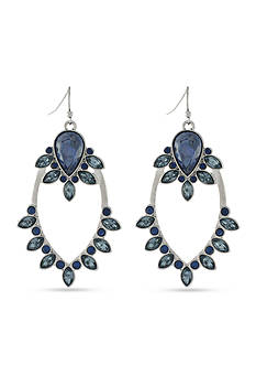 Jessica Simpson Silver-Tone Arctic Facets Blue Chandelier Earrings