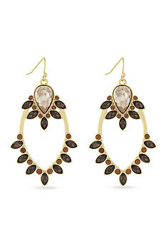 Jessica Simpson Gold-Tone Arctic Facets Dark Topaz Chandelier Earrings