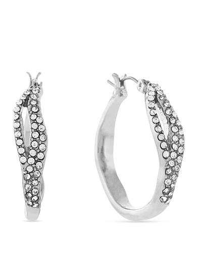Jessica Simpson Silver-Tone Twisted Pave Crystal Large Hoop Earrings