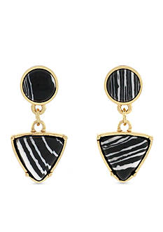 Jessica Simpson Gold-Tone Zebra Triangle Double Drop Earrings