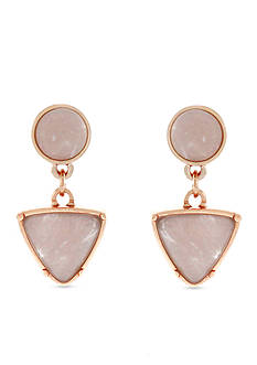 Jessica Simpson Rose Gold-Tone Pink Triangle Double Drop Earrings
