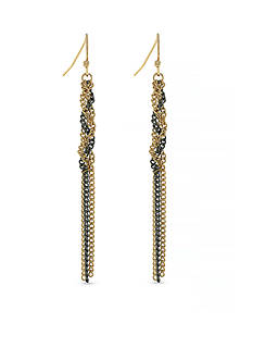 Jessica Simpson Two-Tone Braid and Knot Drop Earrings