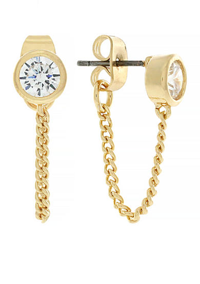Jessica Simpson Gold-Tone Cubic Zirconia Earrings
