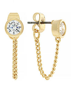 Jessica Simpson Gold-Tone Cubic Zirconia Earrings