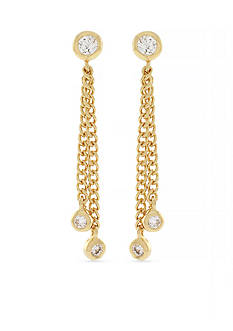 Jessica Simpson Gold-Tone Del Metal Stones Linear Earrings