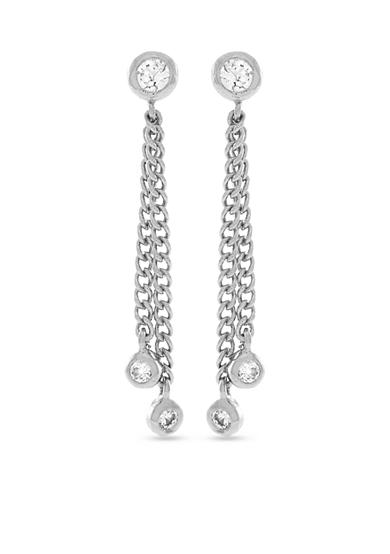 Jessica Simpson Silver-Tone Del Metal Stones Linear Earrings