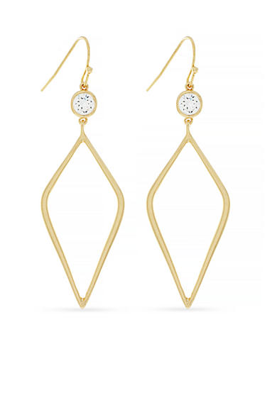 Jessica Simpson Gold-Tone Cubic Zirconia Drop Earrings