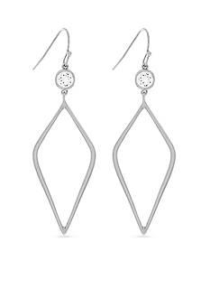 Jessica Simpson Silver-Tone Del Metal Stones Cubic Zirconia Drop Earrings