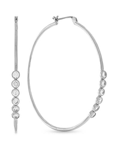 Jessica Simpson Silver-Tone Delicate Metal Stones Hoop Earrings