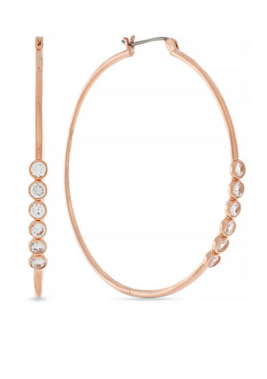 Jessica Simpson Rose Gold-Tone Delicate Metal Stones Hoop Earrings