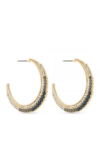 Jessica Simpson Gold-Tone Crescent Moon Hoop Earrings
