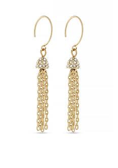 Jessica Simpson Gold-Tone Hoop Dreams Tassel Drop Earrings