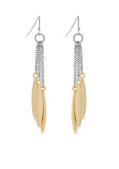 Jessica Simpson Two-Tone Mixed Metal Tassel Drop Earrings