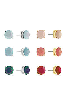 Jessica Simpson Two-Tone Multicolor Round 6-Piece Stud Earrings Set