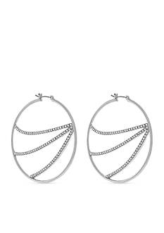 Jessica Simpson Silver-Tone Crystal Pave Hoop Earrings