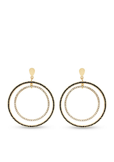 Jessica Simpson Gold-Tone Pave Double Hoop Earring