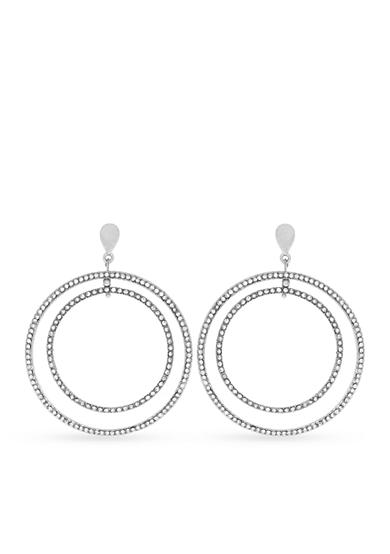 Jessica Simpson Silver-Tone Pave Double Hoop Earing