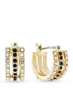 Jessica Simpson Gold-Tone Multi Row Pave Huggie Hoop Earring