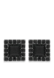 Jessica Simpson Hematite-Tone Dancing In The Moonlight Square Button Earrings
