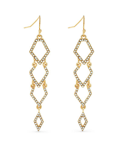 Jessica Simpson Gold-Tone Dancing In The Moonlight Diamond Drop Earrings