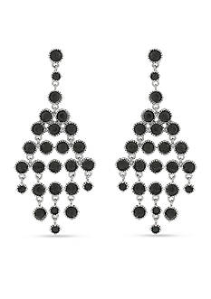 Jessica Simpson Silver-Tone Beaded Chandelier Earrings