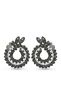 Jessica Simpson Hematite-Tone Petaled Wreath Button Earrings