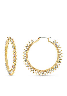 Jessica Simpson Gold-Tone World Bazaar Sparkle Hoop Earrings